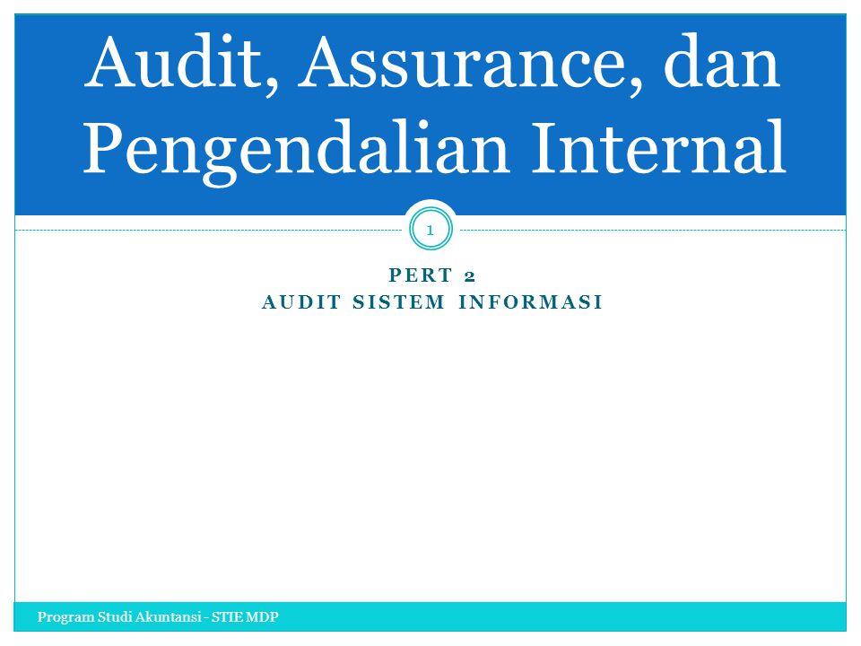 PERT 2 AUDIT SISTEM INFORMASI Program Studi Akuntansi - STIE MDP 1 Audit, Assurance, dan Pengendalian Internal