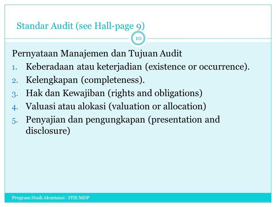 Standar Audit (see Hall-page 9) Pernyataan Manajemen dan Tujuan Audit 1. Keberadaan atau keterjadian (existence or occurrence). 2. Kelengkapan (comple