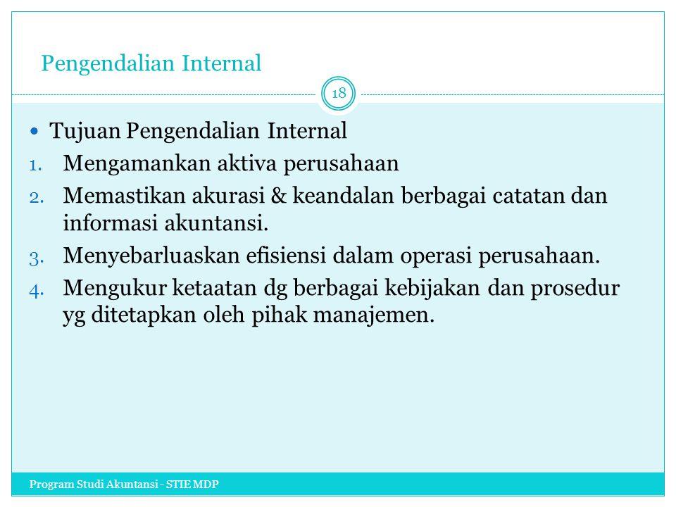 Pengendalian Internal Tujuan Pengendalian Internal 1. Mengamankan aktiva perusahaan 2. Memastikan akurasi & keandalan berbagai catatan dan informasi a