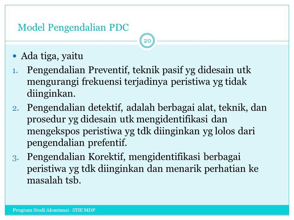 Model Pengendalian PDC Ada tiga, yaitu 1. Pengendalian Preventif, teknik pasif yg didesain utk mengurangi frekuensi terjadinya peristiwa yg tidak diin