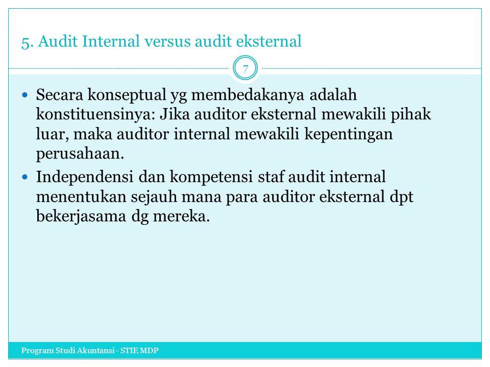 5. Audit Internal versus audit eksternal Secara konseptual yg membedakanya adalah konstituensinya: Jika auditor eksternal mewakili pihak luar, maka au