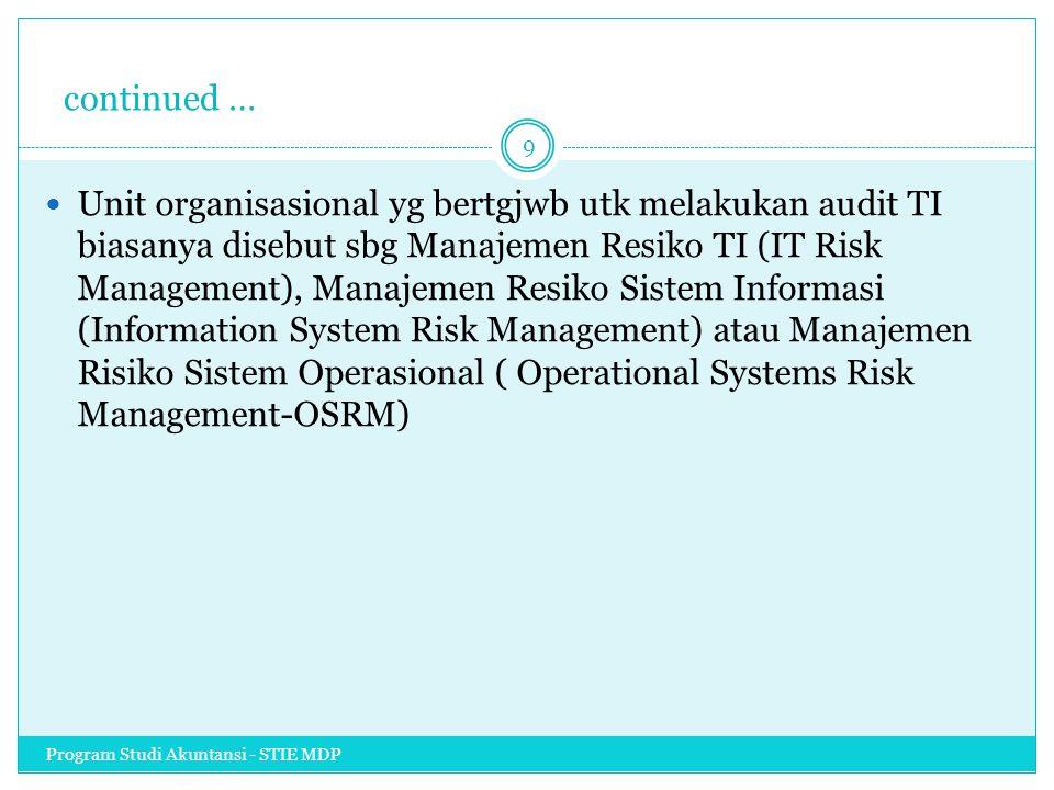 continued … Unit organisasional yg bertgjwb utk melakukan audit TI biasanya disebut sbg Manajemen Resiko TI (IT Risk Management), Manajemen Resiko Sis