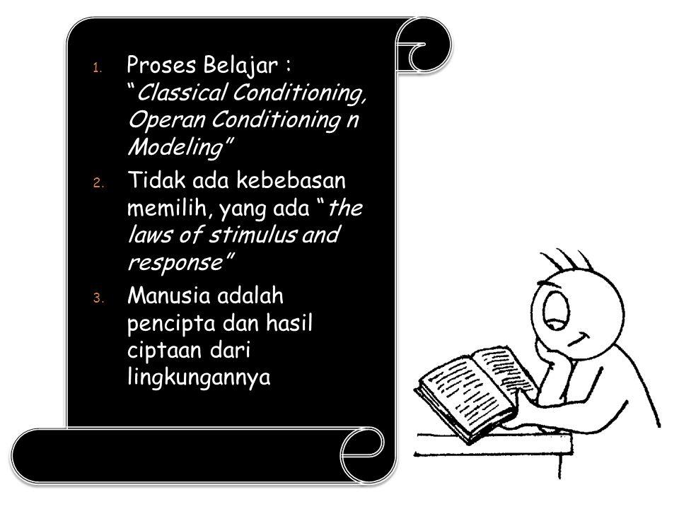 """1. Proses Belajar : """"Classical Conditioning, Operan Conditioning n Modeling"""" 2. Tidak ada kebebasan memilih, yang ada """"the laws of stimulus and respon"""