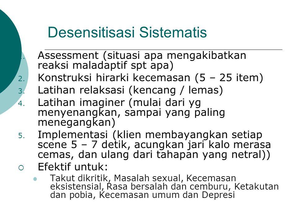 Desensitisasi Sistematis 1. Assessment (situasi apa mengakibatkan reaksi maladaptif spt apa) 2. Konstruksi hirarki kecemasan (5 – 25 item) 3. Latihan