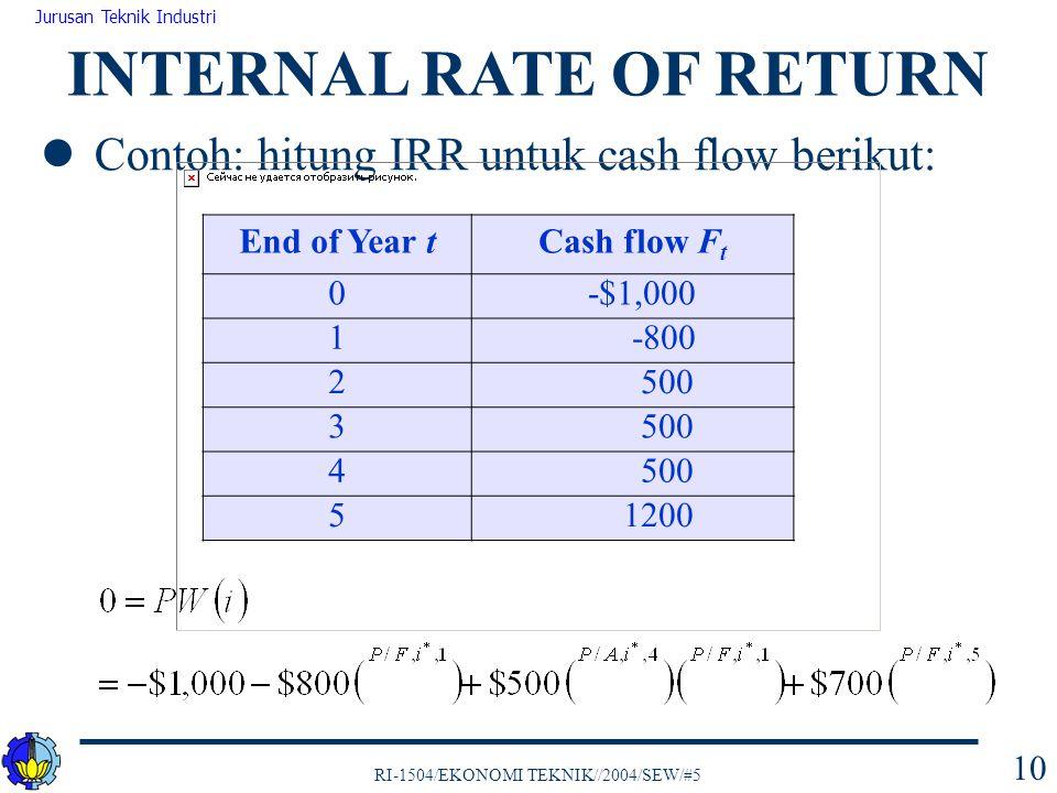 RI-1504/EKONOMI TEKNIK//2004/SEW/#5 Jurusan Teknik Industri 10 Contoh: hitung IRR untuk cash flow berikut: INTERNAL RATE OF RETURN End of Year tCash f