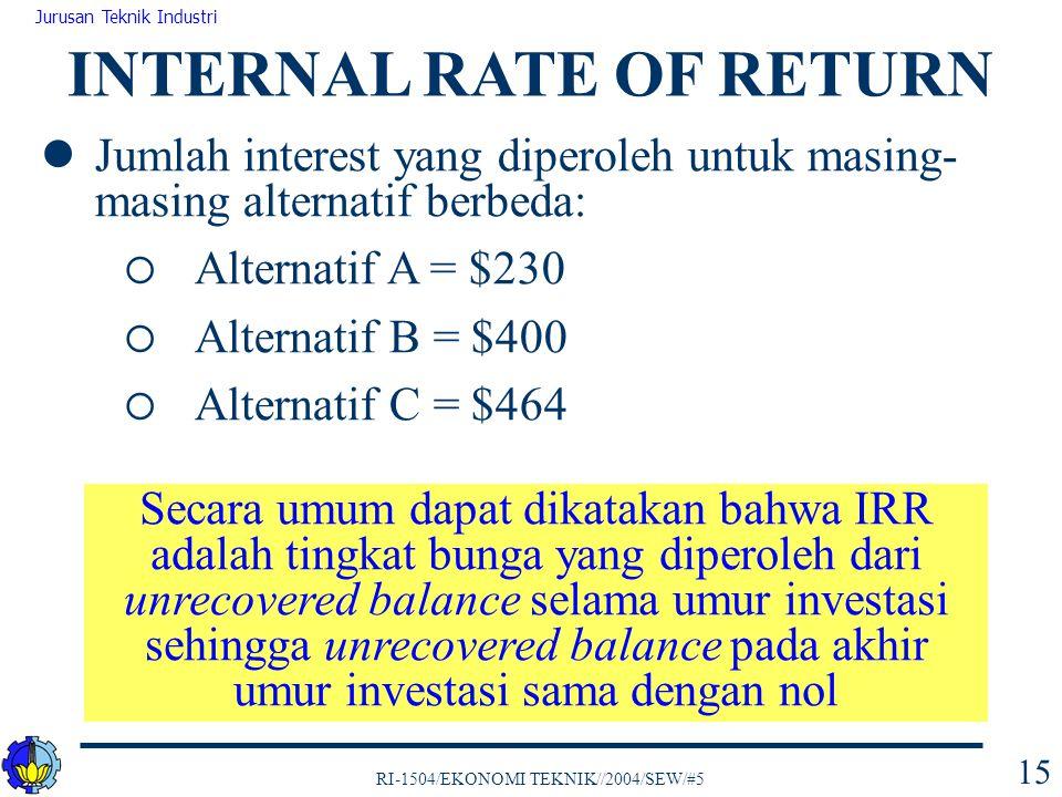 RI-1504/EKONOMI TEKNIK//2004/SEW/#5 Jurusan Teknik Industri 15 Jumlah interest yang diperoleh untuk masing- masing alternatif berbeda:  Alternatif A