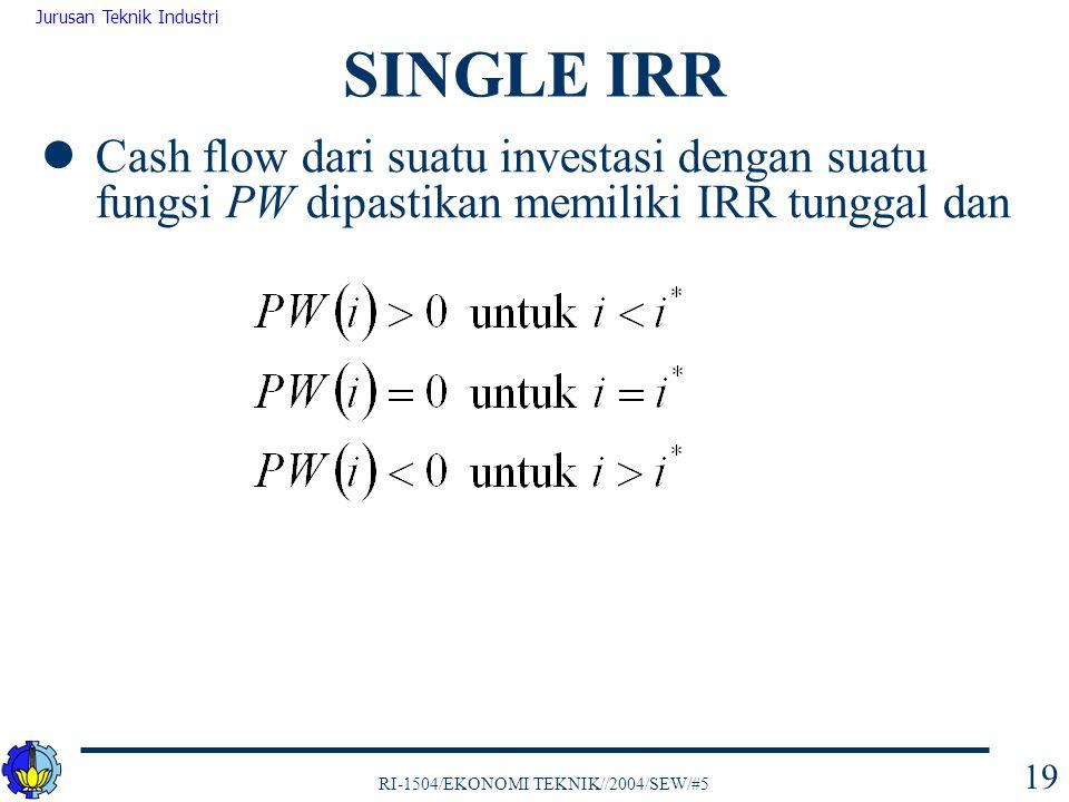 RI-1504/EKONOMI TEKNIK//2004/SEW/#5 Jurusan Teknik Industri 19 Cash flow dari suatu investasi dengan suatu fungsi PW dipastikan memiliki IRR tunggal d