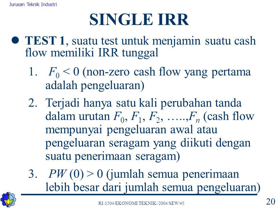 RI-1504/EKONOMI TEKNIK//2004/SEW/#5 Jurusan Teknik Industri 20 TEST 1, suatu test untuk menjamin suatu cash flow memiliki IRR tunggal 1. F 0 < 0 (non-