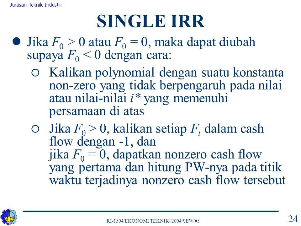 RI-1504/EKONOMI TEKNIK//2004/SEW/#5 Jurusan Teknik Industri 24 Jika F 0 > 0 atau F 0 = 0, maka dapat diubah supaya F 0 < 0 dengan cara:  Kalikan poly