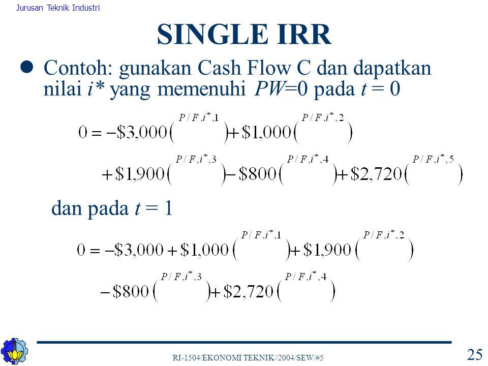 RI-1504/EKONOMI TEKNIK//2004/SEW/#5 Jurusan Teknik Industri 25 Contoh: gunakan Cash Flow C dan dapatkan nilai i* yang memenuhi PW=0 pada t = 0 dan pad