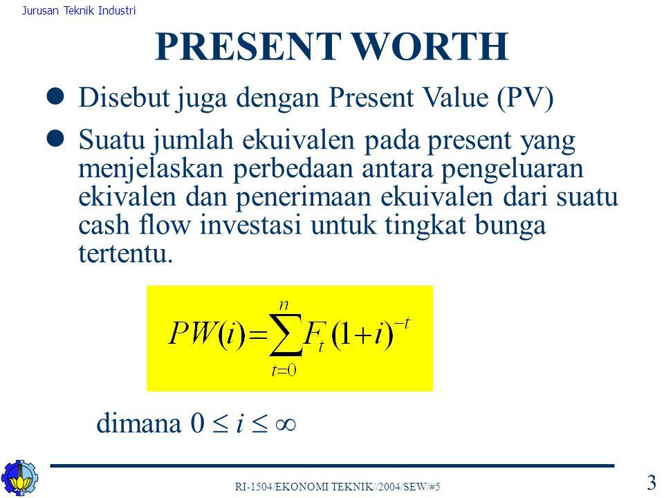 RI-1504/EKONOMI TEKNIK//2004/SEW/#5 Jurusan Teknik Industri 34 Kelemahan:  mengabaikan time value of money  mengabaikan besar dan waktu cash flows serta ekspektasi umur investasi PAYBACK PERIOD TANPA BUNGA End of YearABC 0 -$1,000 -$700 1 500 200 -300 2 300 500 3 200 500 4 200 1,000 0 5 200 2,000 0 6 200 4,000 0 PW, i=0PW(0) A =$600PW(0) B =$7,000PW(0) C =$0 Payback period3 years