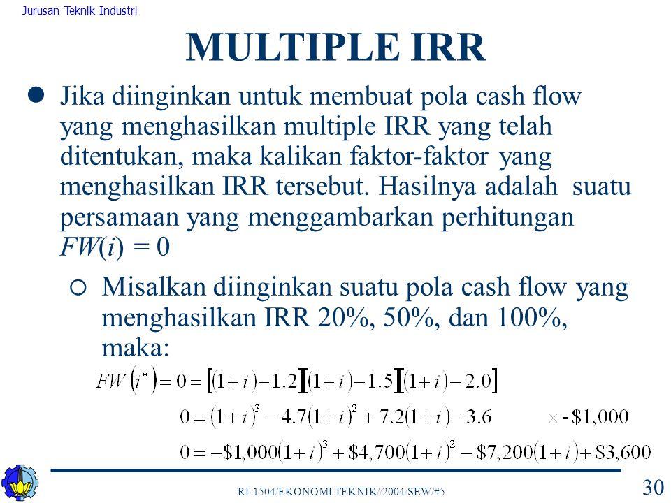 RI-1504/EKONOMI TEKNIK//2004/SEW/#5 Jurusan Teknik Industri 30 Jika diinginkan untuk membuat pola cash flow yang menghasilkan multiple IRR yang telah