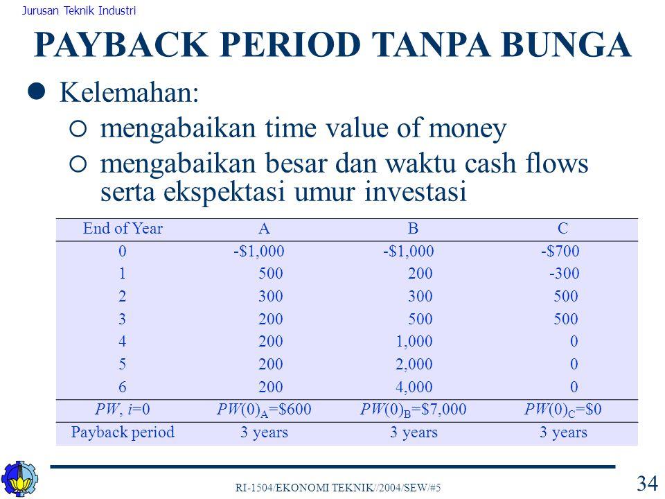 RI-1504/EKONOMI TEKNIK//2004/SEW/#5 Jurusan Teknik Industri 34 Kelemahan:  mengabaikan time value of money  mengabaikan besar dan waktu cash flows s