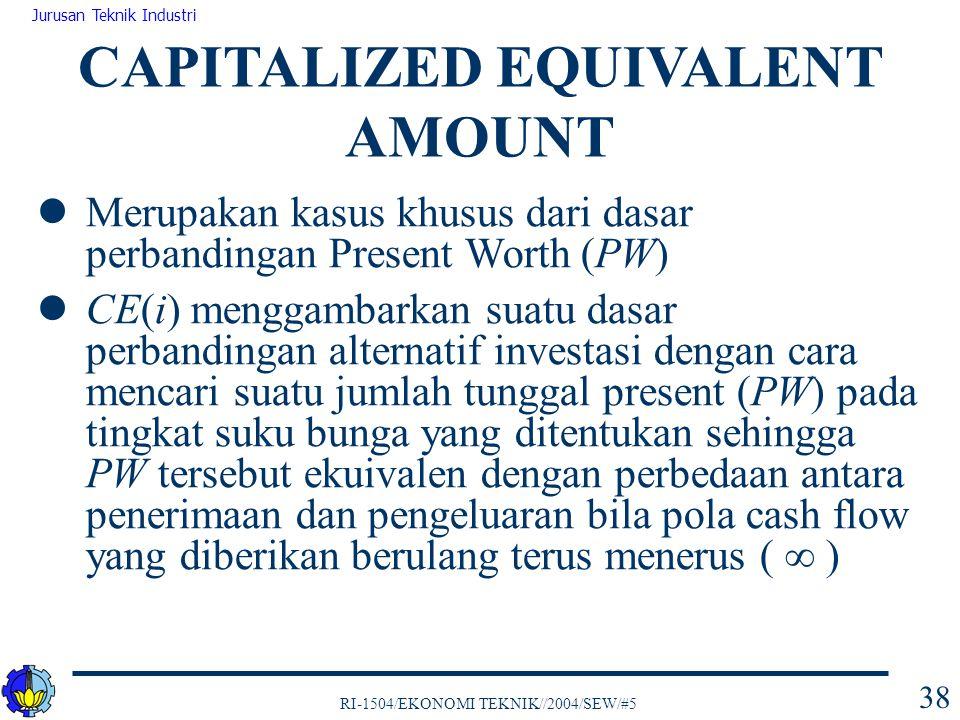 RI-1504/EKONOMI TEKNIK//2004/SEW/#5 Jurusan Teknik Industri 38 Merupakan kasus khusus dari dasar perbandingan Present Worth (PW) CE(i) menggambarkan s