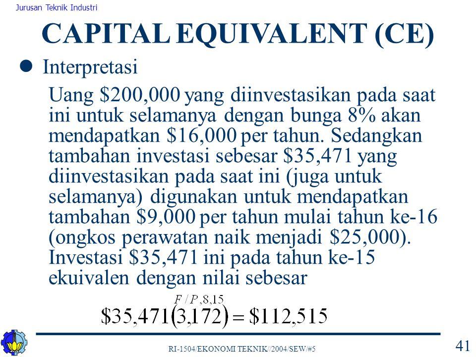 RI-1504/EKONOMI TEKNIK//2004/SEW/#5 Jurusan Teknik Industri 41 Interpretasi Uang $200,000 yang diinvestasikan pada saat ini untuk selamanya dengan bun