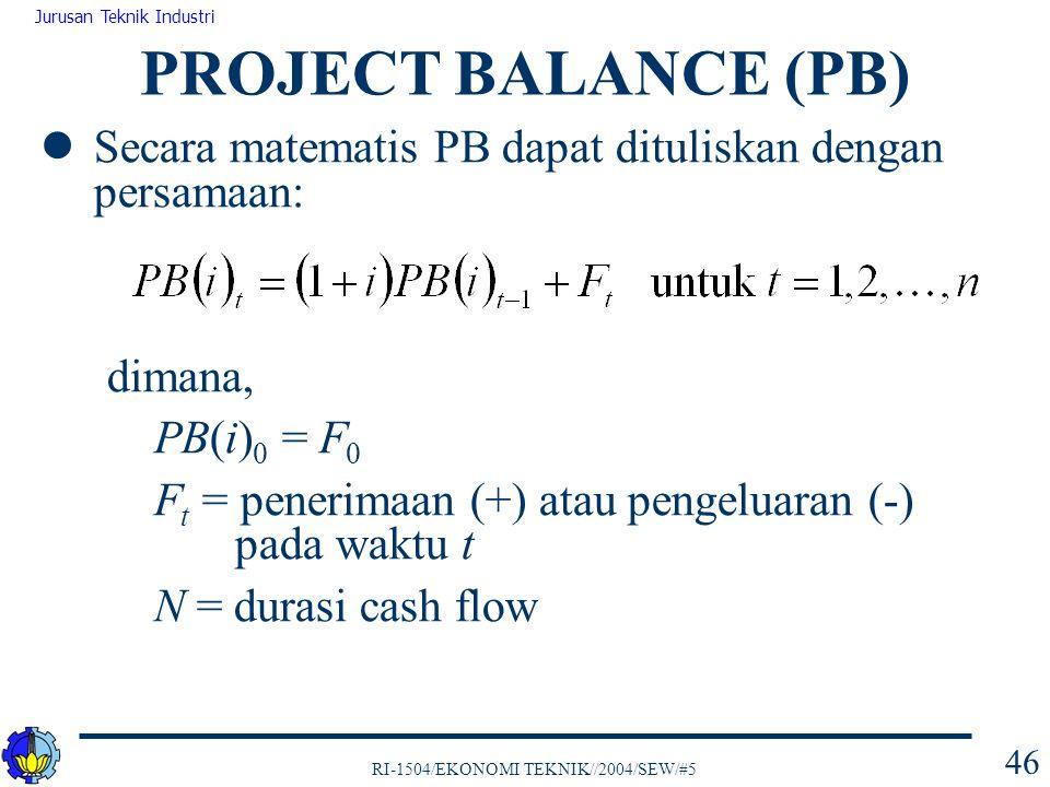 RI-1504/EKONOMI TEKNIK//2004/SEW/#5 Jurusan Teknik Industri 46 Secara matematis PB dapat dituliskan dengan persamaan: dimana, PB(i) 0 = F 0 F t = pene