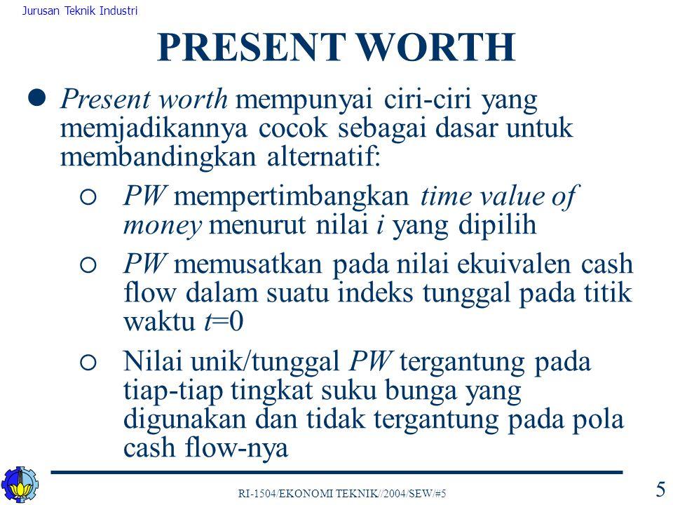 RI-1504/EKONOMI TEKNIK//2004/SEW/#5 Jurusan Teknik Industri 46 Secara matematis PB dapat dituliskan dengan persamaan: dimana, PB(i) 0 = F 0 F t = penerimaan (+) atau pengeluaran (-) pada waktu t N = durasi cash flow PROJECT BALANCE (PB)