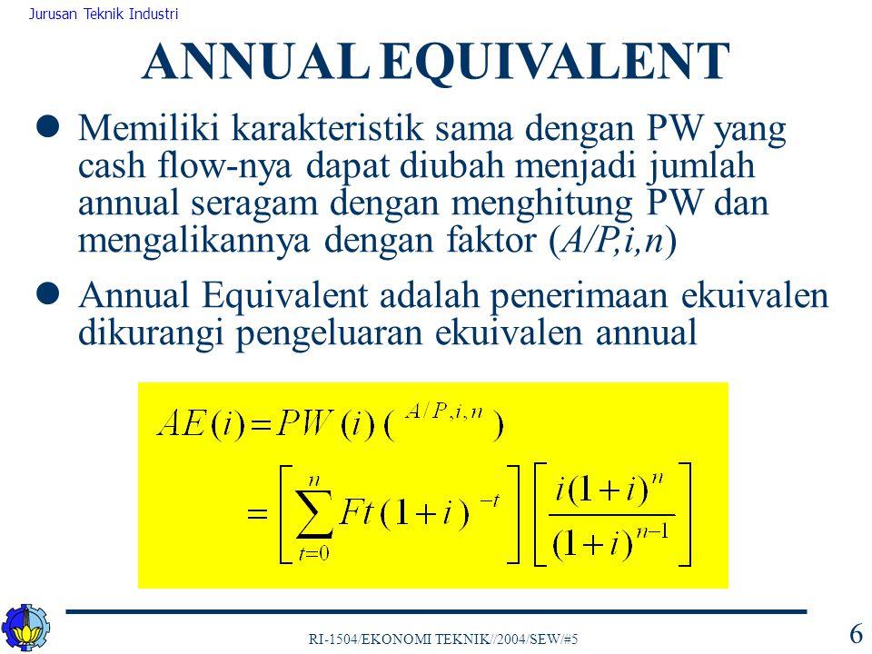RI-1504/EKONOMI TEKNIK//2004/SEW/#5 Jurusan Teknik Industri 27 Bila pemilihan alternatif ditentukan atas dasar IRR maka cash flow harus diidentifikasi apakah terdapat single IRR atau multiple IRR Descartes Rule membantu mengidentifikasi munculnya multiple IRR : 1.Jumlah akar pangkat real positif suatu polynomial derajat n dengan koefisien- koefisien real tidak pernah lebih besar dari jumlah perubahan tanda urutan koefisien- koefiennya (F 0, F 1, F 2, …, F n-1, F n ) 2.Bila lebih kecil maka jumlah akar positif real selalu genap MULTIPLE IRR