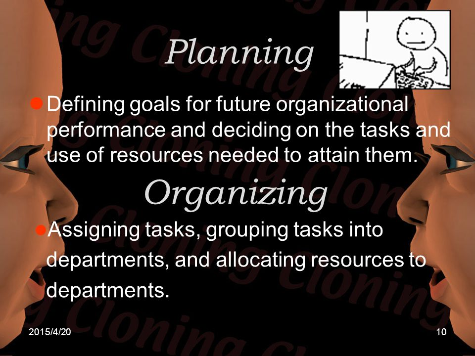 2015/4/2010 Planning Defining goals for future organizational performance and deciding on the tasks and use of resources needed to attain them. Organi