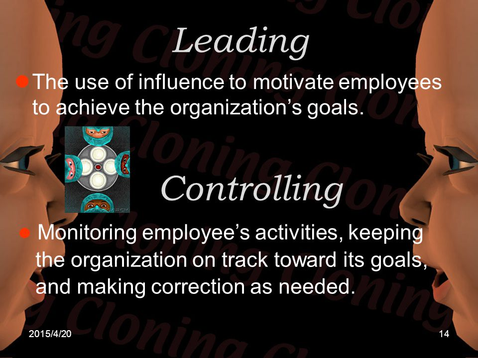 2015/4/2014 Leading The use of influence to motivate employees to achieve the organization's goals. Controlling Monitoring employee's activities, keep