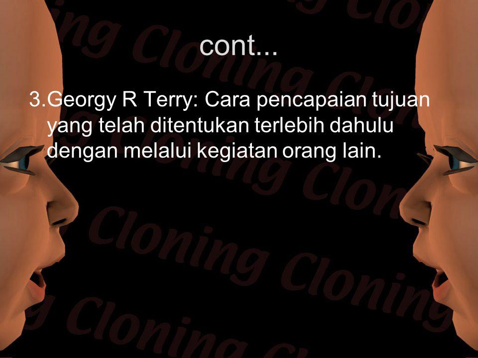 cont... 3.Georgy R Terry: Cara pencapaian tujuan yang telah ditentukan terlebih dahulu dengan melalui kegiatan orang lain.