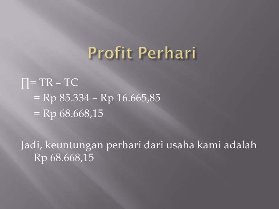 ∏= TR – TC = Rp 85.334 – Rp 16.665,85 = Rp 68.668,15 Jadi, keuntungan perhari dari usaha kami adalah Rp 68.668,15