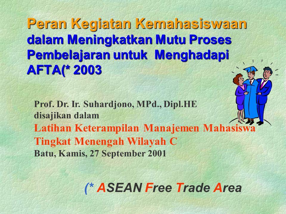 Peran Kegiatan Kemahasiswaan dalam Meningkatkan Mutu Proses Pembelajaran untuk Menghadapi AFTA(* 2003 (* ASEAN Free Trade Area Prof.