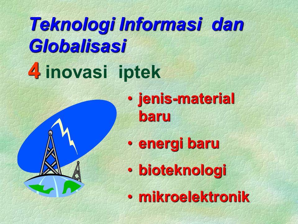 Teknologi Informasi dan Globalisasi 4 Teknologi Informasi dan Globalisasi 4 inovasi iptek jenis-material barujenis-material baru energi baruenergi baru bioteknologibioteknologi mikroelektronikmikroelektronik