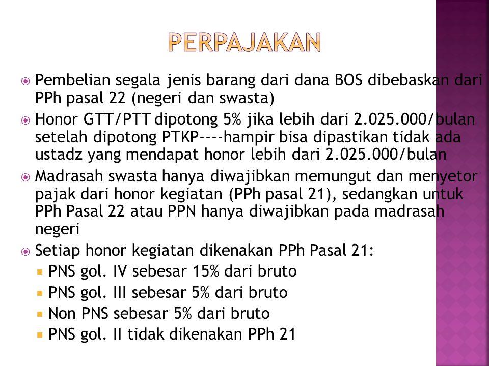  Pembelian segala jenis barang dari dana BOS dibebaskan dari PPh pasal 22 (negeri dan swasta)  Honor GTT/PTT dipotong 5% jika lebih dari 2.025.000/bulan setelah dipotong PTKP----hampir bisa dipastikan tidak ada ustadz yang mendapat honor lebih dari 2.025.000/bulan  Madrasah swasta hanya diwajibkan memungut dan menyetor pajak dari honor kegiatan (PPh pasal 21), sedangkan untuk PPh Pasal 22 atau PPN hanya diwajibkan pada madrasah negeri  Setiap honor kegiatan dikenakan PPh Pasal 21:  PNS gol.