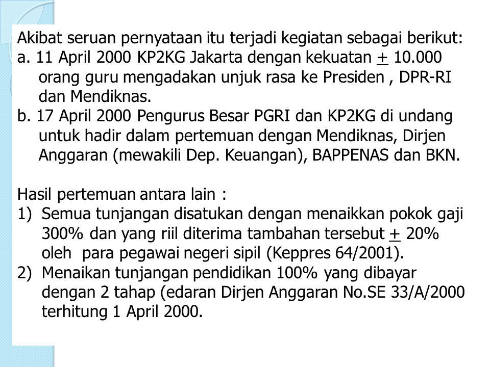 Akibat seruan pernyataan itu terjadi kegiatan sebagai berikut: a. 11 April 2000 KP2KG Jakarta dengan kekuatan + 10.000 orang guru mengadakan unjuk ras