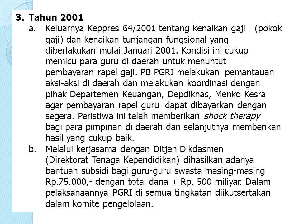 3.Tahun 2001 a.Keluarnya Keppres 64/2001 tentang kenaikan gaji (pokok gaji) dan kenaikan tunjangan fungsional yang diberlakukan mulai Januari 2001. Ko