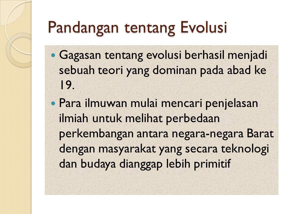 Pandangan tentang Evolusi Gagasan tentang evolusi berhasil menjadi sebuah teori yang dominan pada abad ke 19. Para ilmuwan mulai mencari penjelasan il