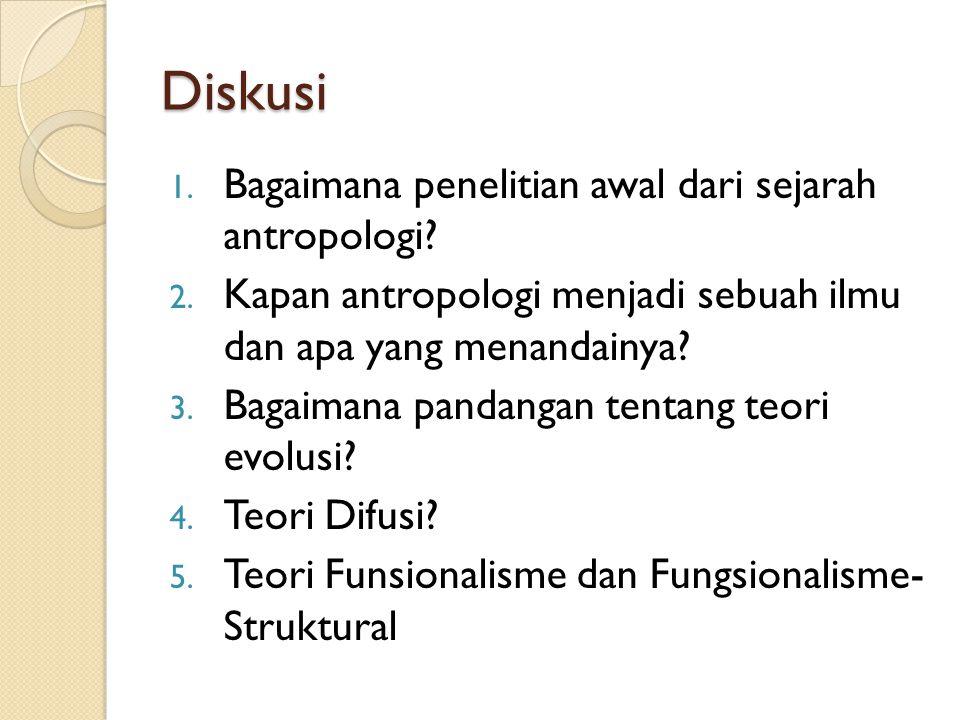 Diskusi 1. Bagaimana penelitian awal dari sejarah antropologi? 2. Kapan antropologi menjadi sebuah ilmu dan apa yang menandainya? 3. Bagaimana pandang