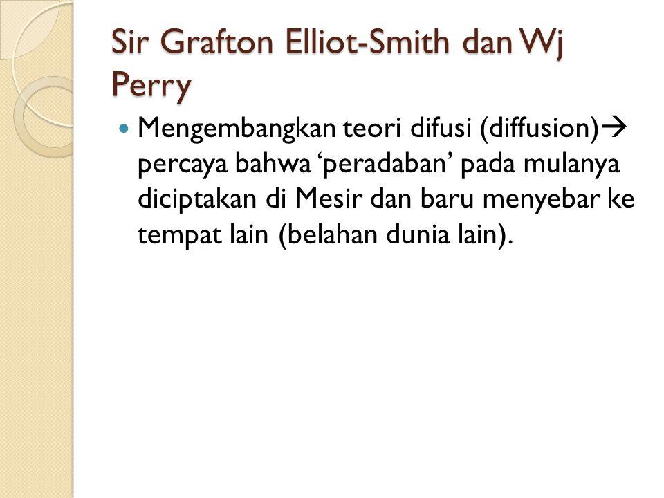 Sir Grafton Elliot-Smith dan Wj Perry Mengembangkan teori difusi (diffusion)  percaya bahwa 'peradaban' pada mulanya diciptakan di Mesir dan baru men