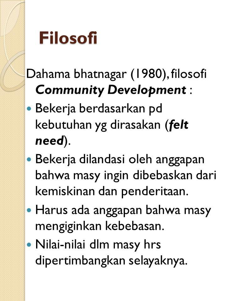 Filosofi Dahama bhatnagar (1980), filosofi Community Development : Bekerja berdasarkan pd kebutuhan yg dirasakan (felt need).