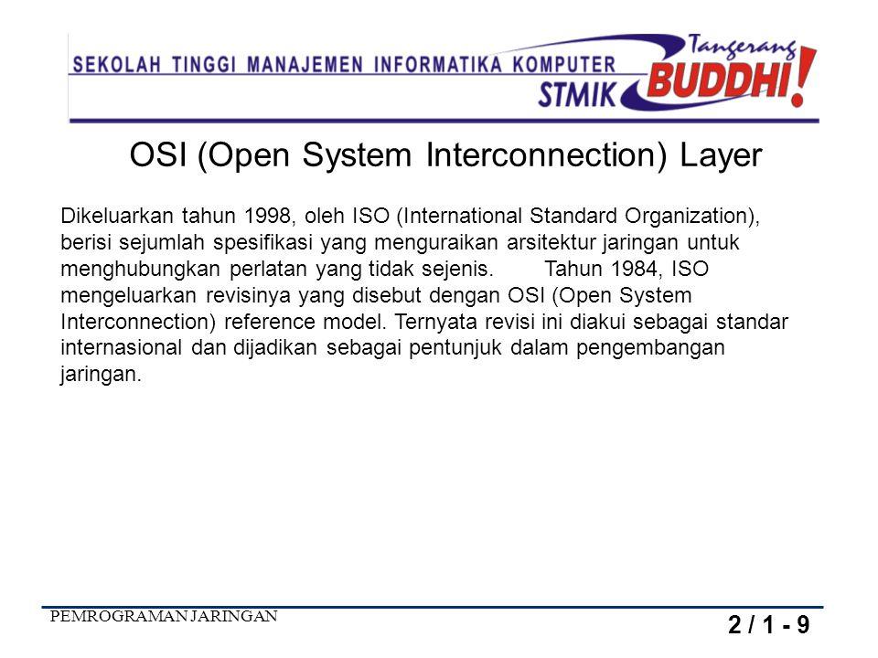 PEMROGRAMAN JARINGAN OSI (Open System Interconnection) Layer Dikeluarkan tahun 1998, oleh ISO (International Standard Organization), berisi sejumlah s