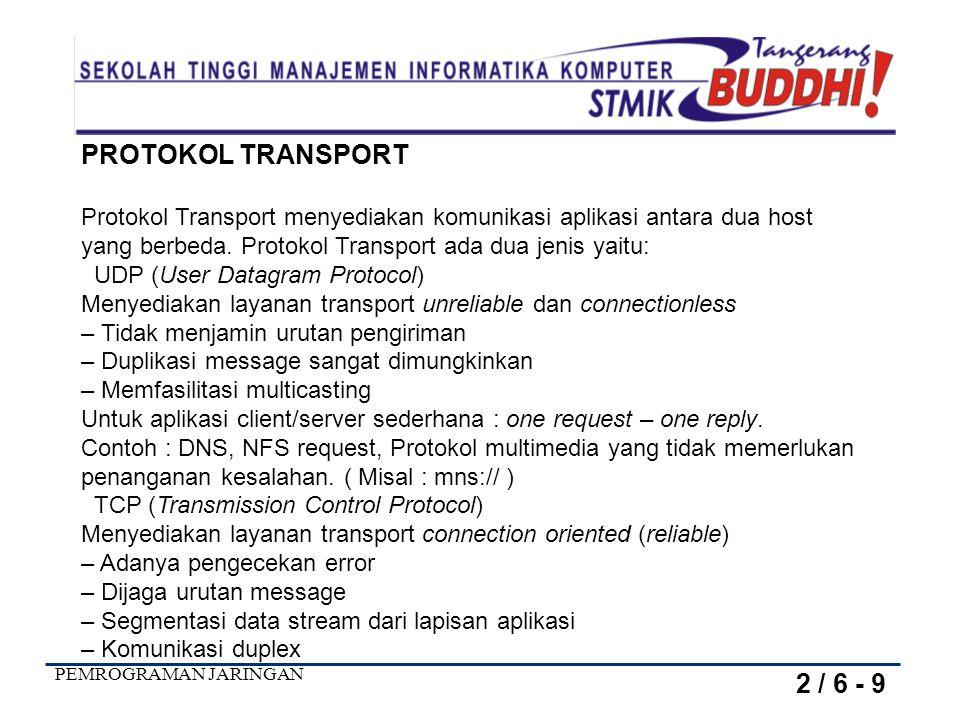 PEMROGRAMAN JARINGAN PROTOKOL TRANSPORT Protokol Transport menyediakan komunikasi aplikasi antara dua host yang berbeda. Protokol Transport ada dua je