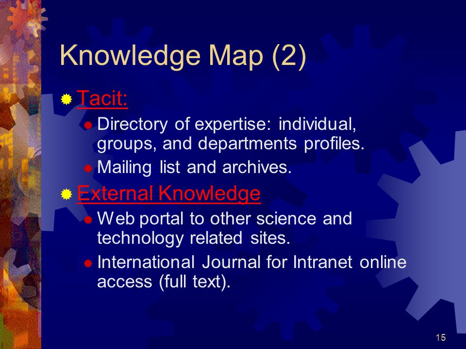 15 Knowledge Map (2)  Tacit:  Directory of expertise: individual, groups, and departments profiles.