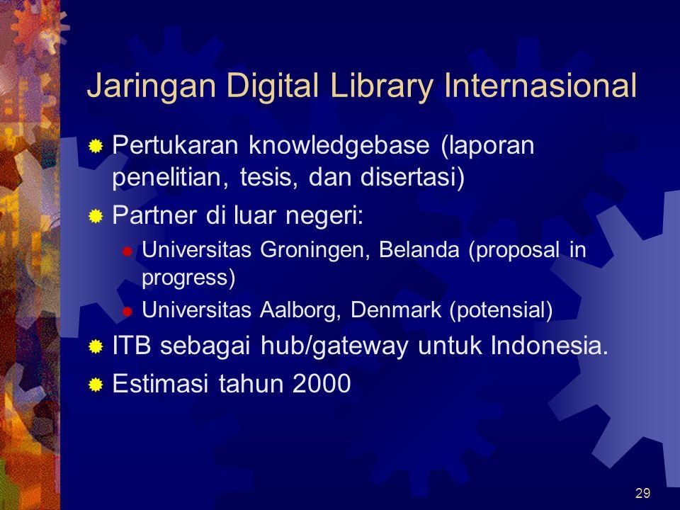 29 Jaringan Digital Library Internasional  Pertukaran knowledgebase (laporan penelitian, tesis, dan disertasi)  Partner di luar negeri:  Universita
