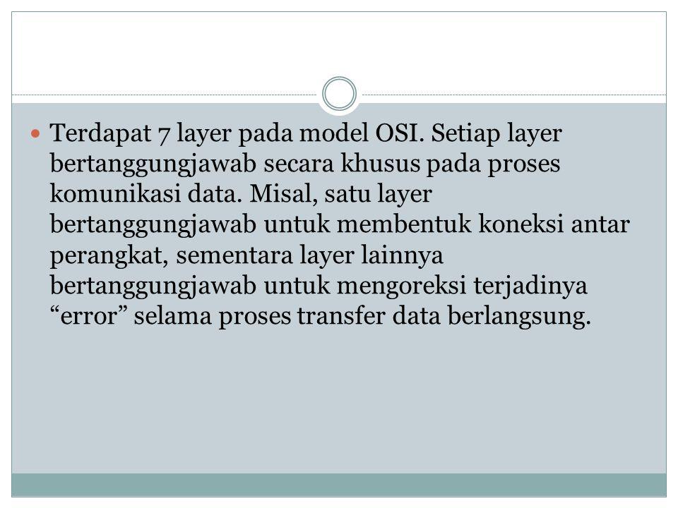 Terdapat 7 layer pada model OSI.
