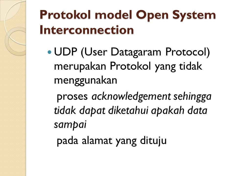 Protokol model Open System Interconnection UDP (User Datagaram Protocol) merupakan Protokol yang tidak menggunakan proses acknowledgement sehingga tidak dapat diketahui apakah data sampai pada alamat yang dituju