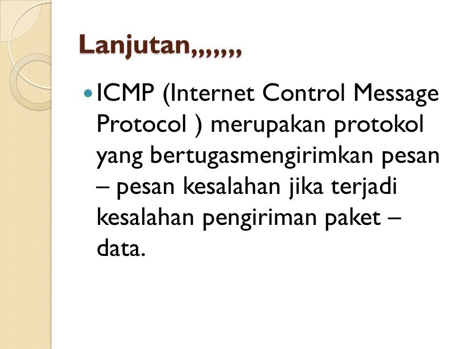 Lanjutan,,,,,,, ICMP (Internet Control Message Protocol ) merupakan protokol yang bertugasmengirimkan pesan – pesan kesalahan jika terjadi kesalahan pengiriman paket – data.