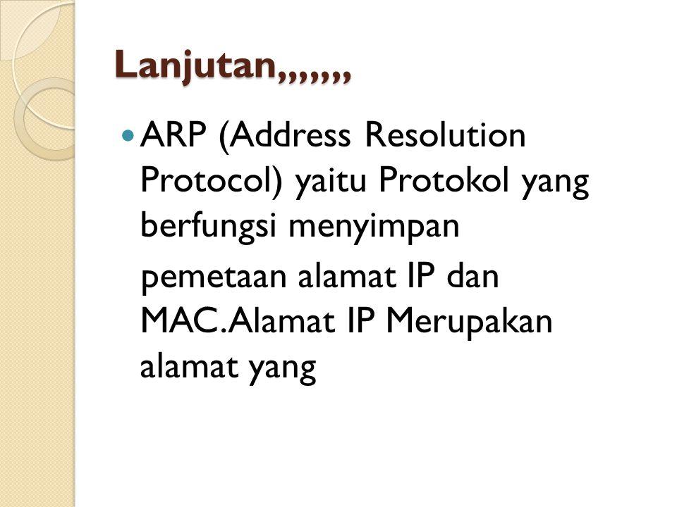 Lanjutan,,,,,,, ARP (Address Resolution Protocol) yaitu Protokol yang berfungsi menyimpan pemetaan alamat IP dan MAC.Alamat IP Merupakan alamat yang