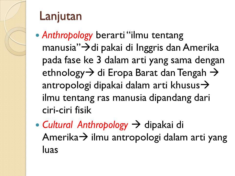 """Lanjutan Anthropology berarti """"ilmu tentang manusia""""  di pakai di Inggris dan Amerika pada fase ke 3 dalam arti yang sama dengan ethnology  di Eropa"""