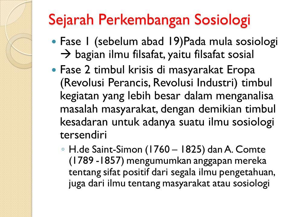 Sejarah Perkembangan Sosiologi Fase 1 (sebelum abad 19)Pada mula sosiologi  bagian ilmu filsafat, yaitu filsafat sosial Fase 2 timbul krisis di masya