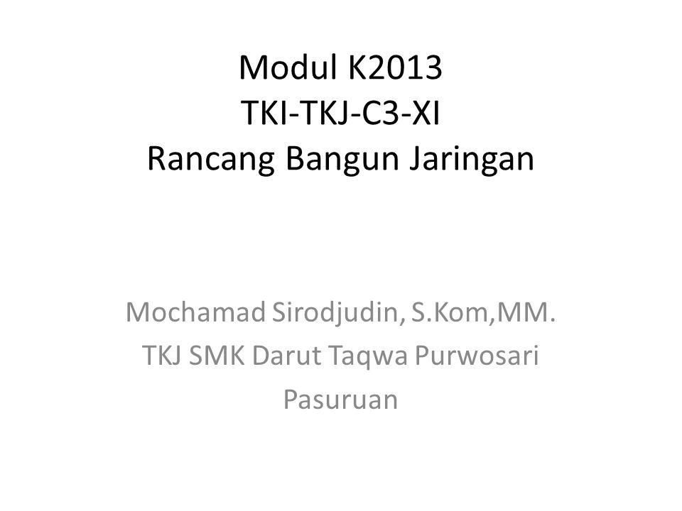 Modul K2013 TKI-TKJ-C3-XI Rancang Bangun Jaringan Mochamad Sirodjudin, S.Kom,MM. TKJ SMK Darut Taqwa Purwosari Pasuruan
