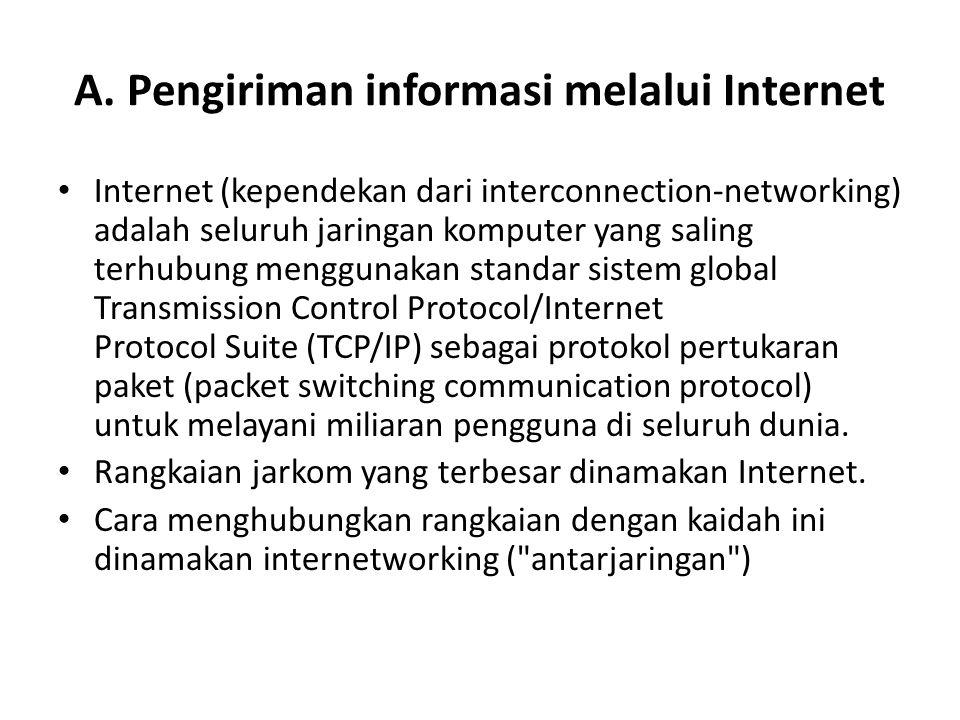 A. Pengiriman informasi melalui Internet Internet (kependekan dari interconnection-networking) adalah seluruh jaringan komputer yang saling terhubung