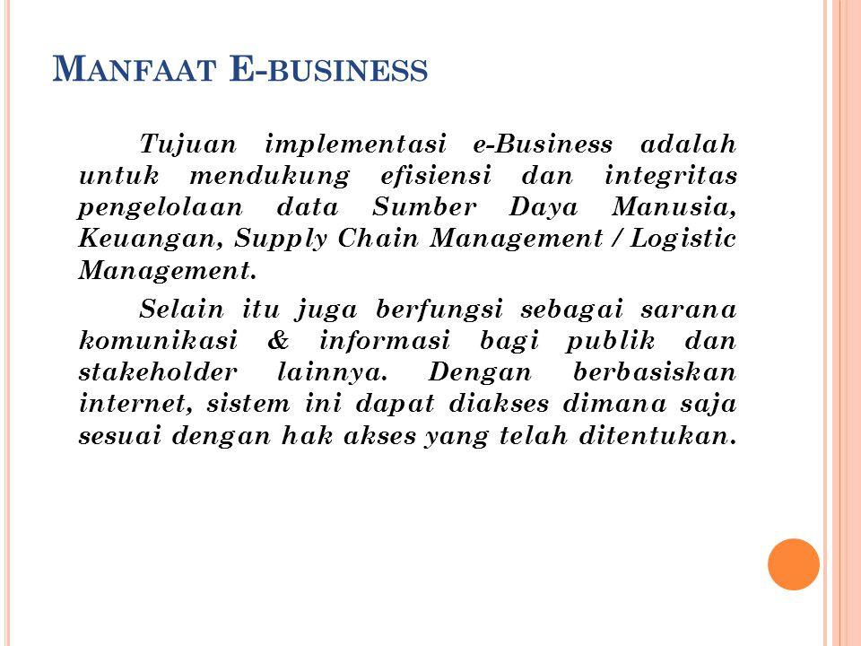 M ANFAAT E- BUSINESS Tujuan implementasi e-Business adalah untuk mendukung efisiensi dan integritas pengelolaan data Sumber Daya Manusia, Keuangan, Su