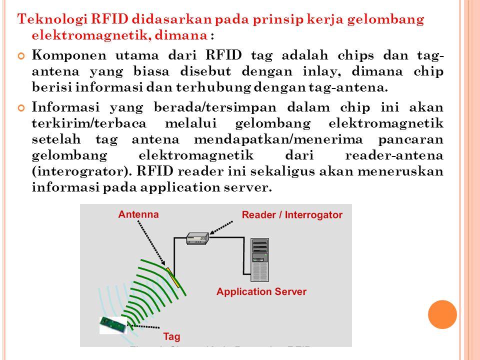Teknologi RFID didasarkan pada prinsip kerja gelombang elektromagnetik, dimana : Komponen utama dari RFID tag adalah chips dan tag- antena yang biasa