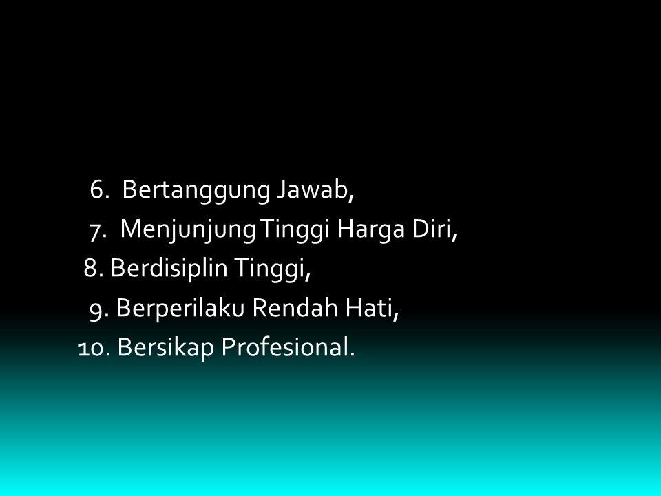 6. Bertanggung Jawab, 7. Menjunjung Tinggi Harga Diri, 8. Berdisiplin Tinggi, 9. Berperilaku Rendah Hati, 10. Bersikap Profesional.